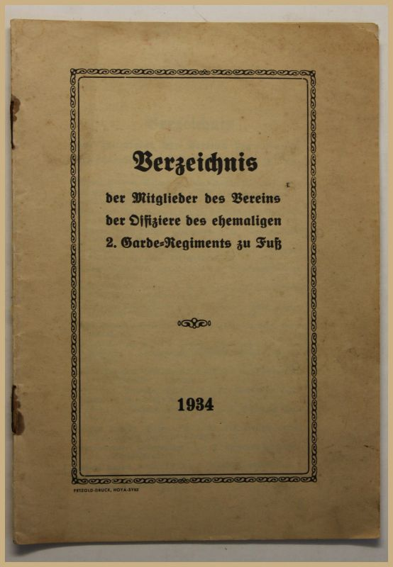 Orig Prospekt Verzeichnis der Mitglieder des Vereins der Offiziere 1934 sf