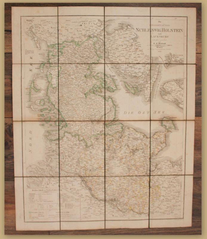 Weiland Die Herzogthümer Schleswig, Holstein und Lauenburg 1849 Landkarte sf