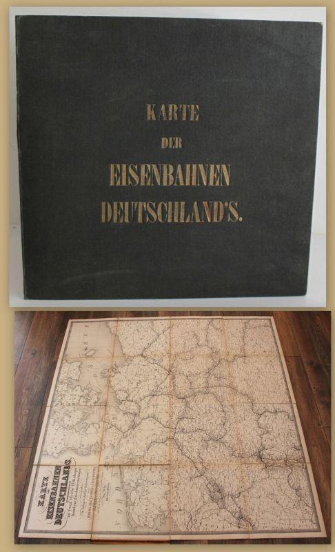 Karte der Eisenbahnen Deutschlands um 1850 Landkarte Europa Geographie sf