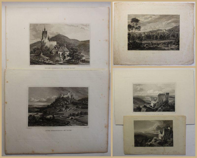 5 Stahlstiche Baden-Baden um 1850 Geografie Geographie Landeskunde Geschichte sf