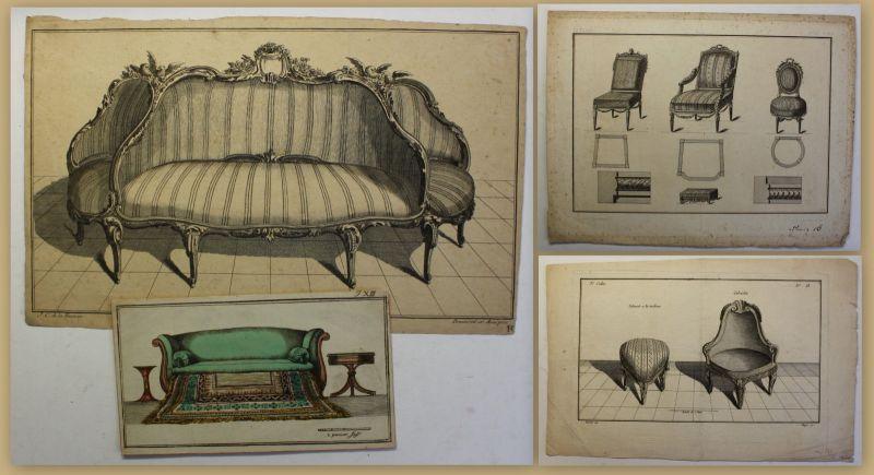 Diverse Kupferstiche von Sitzmöbeln um 1750 koloriert Deko Einrichtung Sofa sf