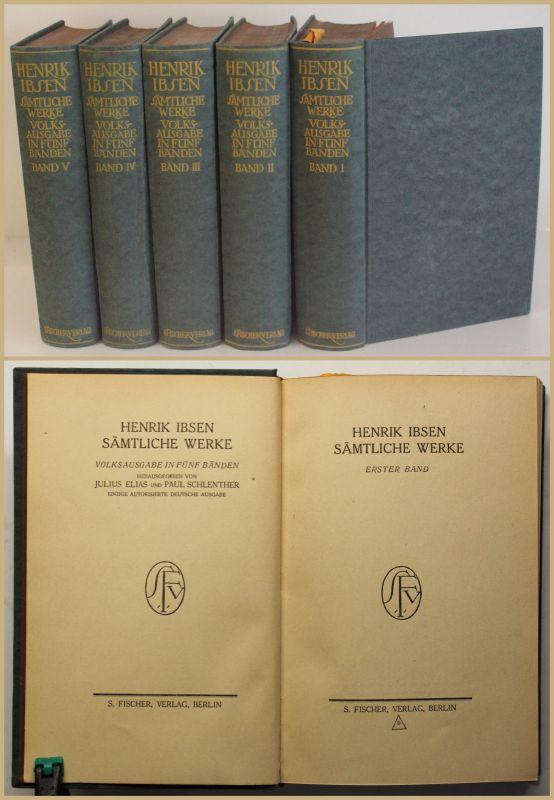 Elias/ Schlenther Henrik Ibsen Sämtliche Werke 5 Bde um 1910 Belletristik sf