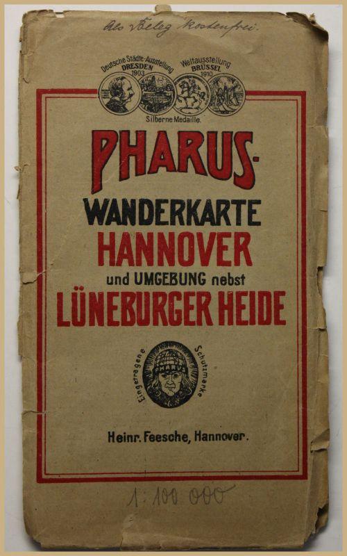 Pharus-Wanderkarte Hannover um 1920 Landkarte Stadtplan 1: 100000 Geografie sf