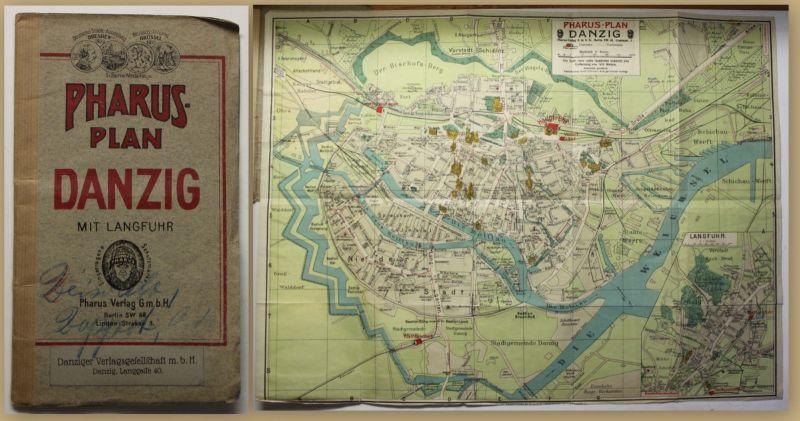 Pharus-Plan Danzig um 1920 Landkarte Stadtplan 1:8000 Polen Geografie sf