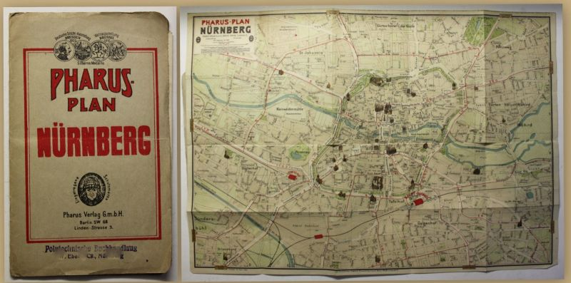Pharus-Plan Nürnberg um 1920 Landkarte Stadtplan 1:8315 Bayern Geografie sf