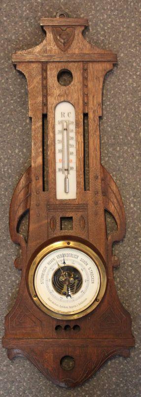 Wandbarometer mit Thermometer um 1910 Curt Stober Oppeln i. Schlesien sf
