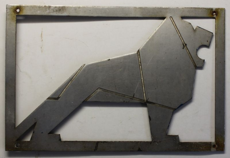 Fabrikschild/Typenschild Löwe von MAN-Büssing Aluminium 1968 Reklame Werbung sf