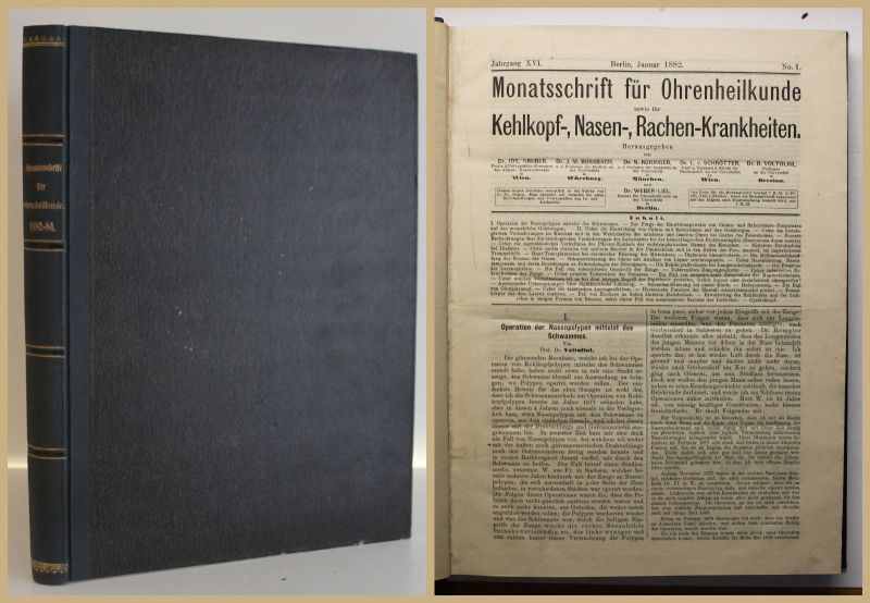 Monatschrift für Ohrenheilkunde 1882-1884 3 Jahrgänge Medizin Otologie sf