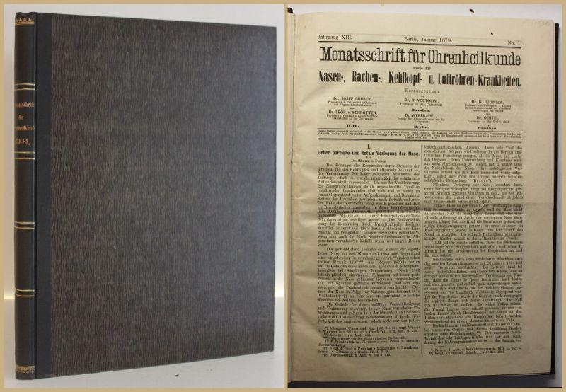 Monatschrift für Ohrenheilkunde 1879-1881 3 Jahrgänge Medizin Otologie sf