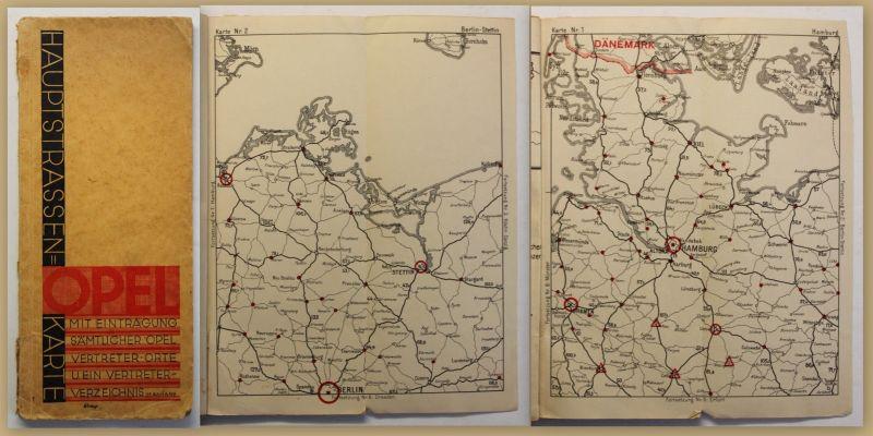Hauptstrassen-Karte Opel mit 11 Karten um 1930 Reise Verkehr Landeskunde sf