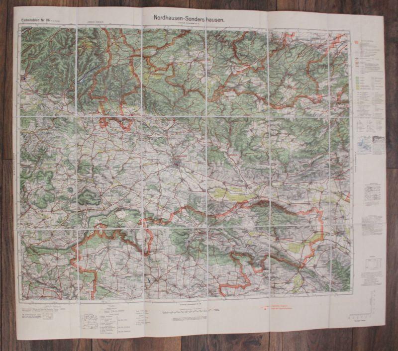 Karte Nordhausen-Sondershausen 1936 Thüringen Geografie Landeskunde Landkarte sf