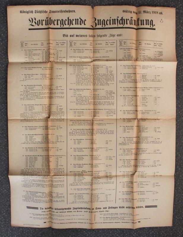 Orig Prospekt Königlich Sächsische Staatseisenbahnen Zugeinschränkungen 1918 sf