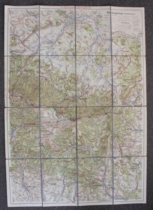 Wanderkarte vom Riesengebirge Teil 2. Schneekoppengebiet um 1900 Geografie sf