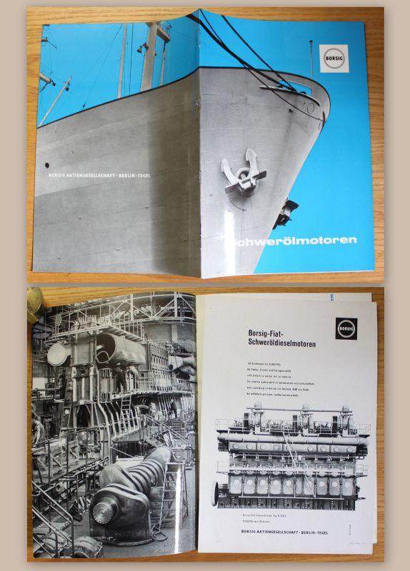 Orig. Werbeprospekt Borsig AG Berlin Borsig-Fiat Schweröldieselmotoren um 1961