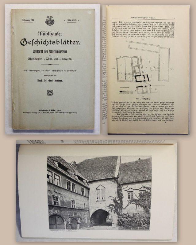 Kettner Mühlhäuser Geschichtsblätter Jg15 1915 Ortskunde Geschichte Thüringen xz