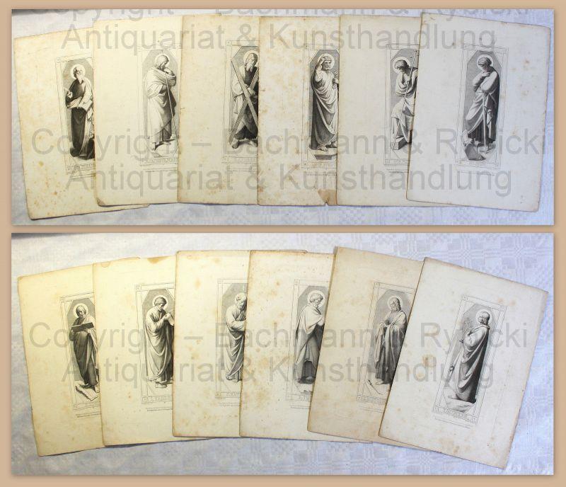 Konvolut Stahlstiche Die 12 Apostel Franz Keller um 1850 Religion Christentum xz