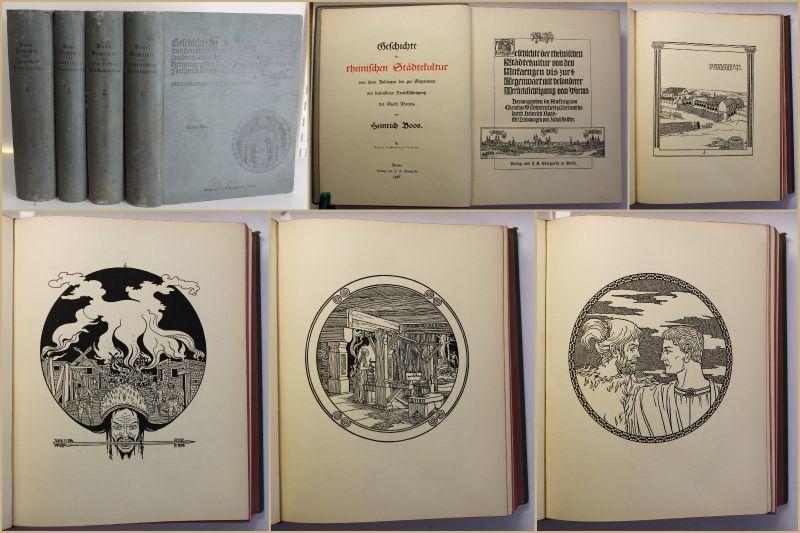 Boos Geschichte der rheinischen Städtekultur der Stadt Worms 1897 4 Bde sf