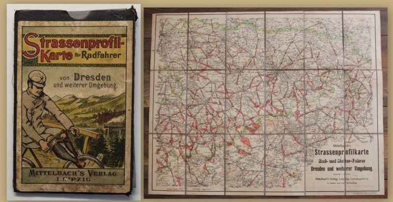 Original Strassenprofilkarte für Radfahrer um 1920 Dresden Geografie Sachsen sf