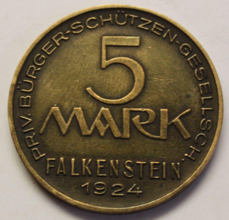 Münze Notgeld 5 Mark Falkenstein 1924 Schützengesellschaft Bronze Messing sf