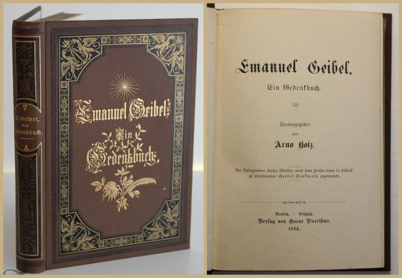 Holz Emanuel Geibel Ein Gedenkbuch 1884 Religion Christentum Geschichte sf
