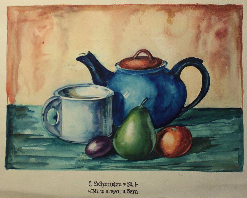 Schmirler Aquarell Stillleben Teekanne Obst 1931 Studienarbeit Kunstschule Loket