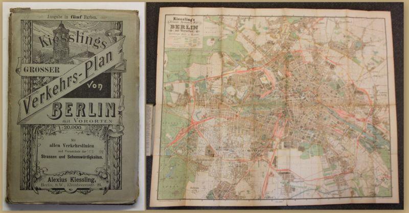 Kiesslings Grosser Verkehrs-Plan von Berlin um 1900 Geografie Ortskunde sf