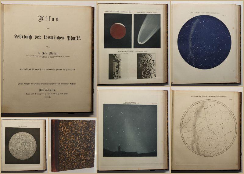 Müller Atlas zum Lehrbuch der kosmischen Physik 1865 Astronomie Wissen Sterne sf