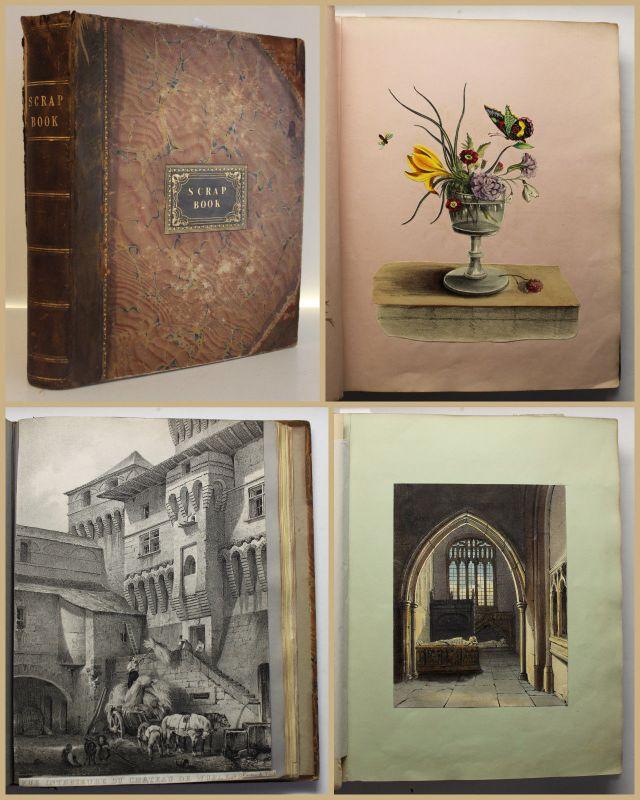 Scrap Book Sammelbuch Scrapbook Einklebebuch um 1840 viele Kupfer koloriert sf
