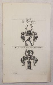 Kupferstich Wappen Familie Von Hirschberg & von Hochstetter 1825 Heraldik xz