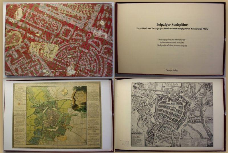 Leipziger Stadtpläne 1994 mit 12 Karten Geschichte Sachsen Ortskunde Kultur sf