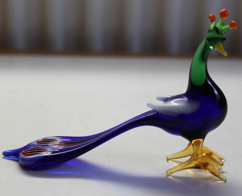 Pfau - Lauscha Glasfiguren Mundgeblasen Glas Thüringen Figuren um 1980 sf