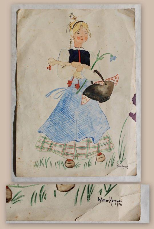 Zeichnung Die goldene Ganz von Walter Hommel 1946 Grimm's Märchen Tusche xz
