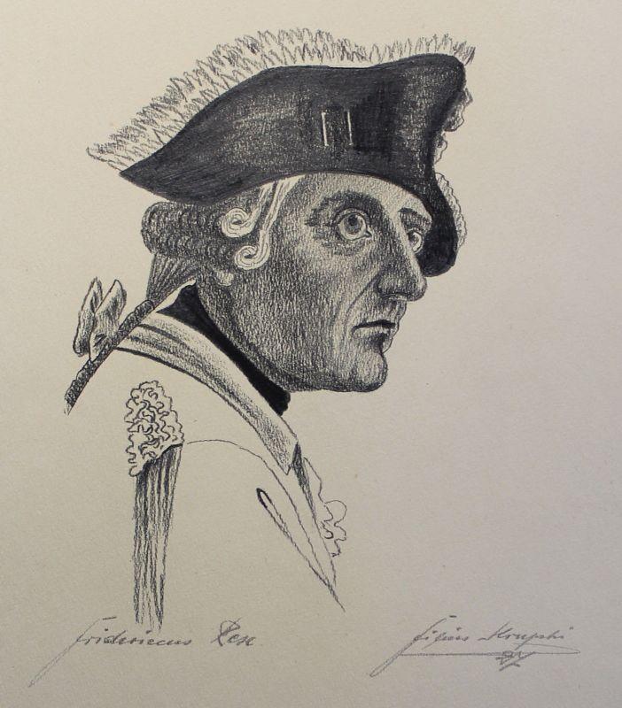 Alte Bleistiftzeichnung Friedrich der Große Fridericus Rex Kruphi dat. 1927 xz
