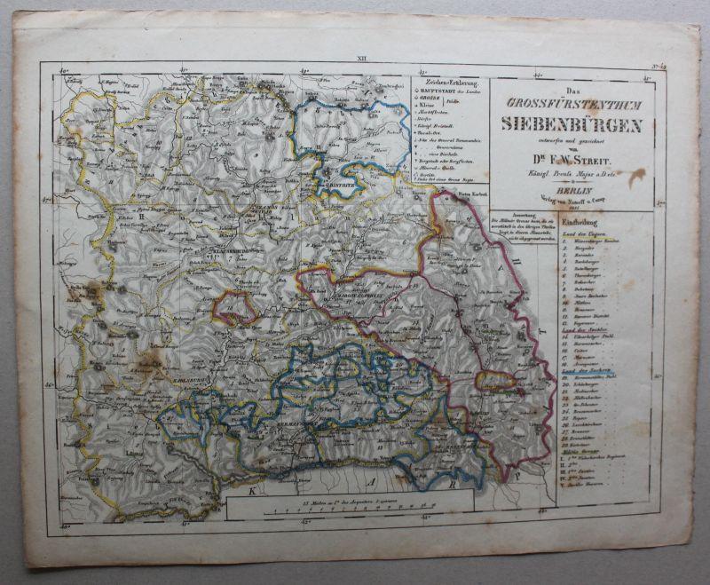 Stahlstich Das Grossfürstenthum Siebenbürgen 1835 Landkarte Transsilvanien sf 0