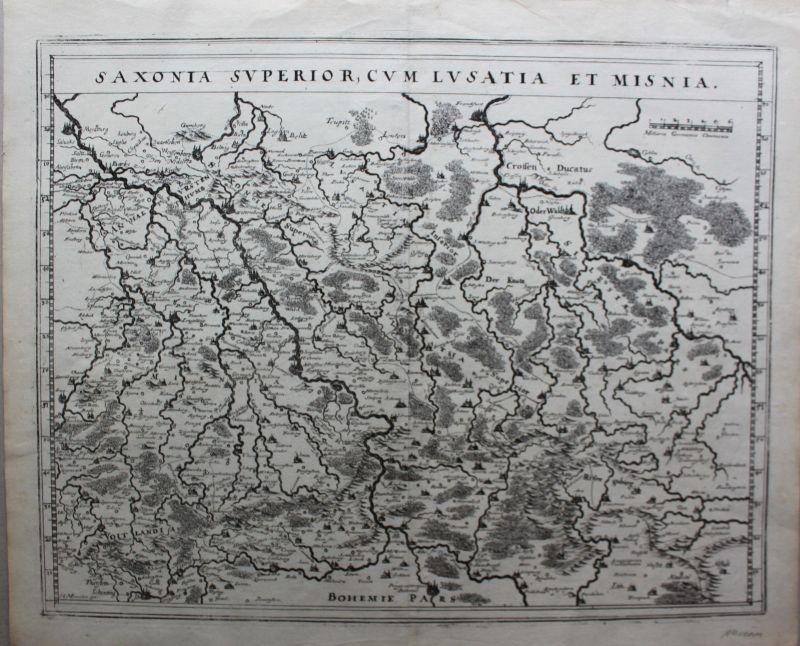 Kupferstichkarte Saxonia Superior, cum Lusatia et Misnia um 1630 Landkarte sf 0
