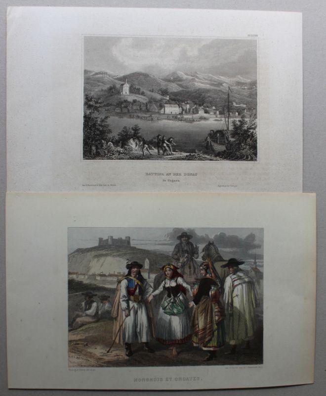 Kolorierter Stahlstich von Hongrois et Croates um 1850 Landaschaft Ungarn sf