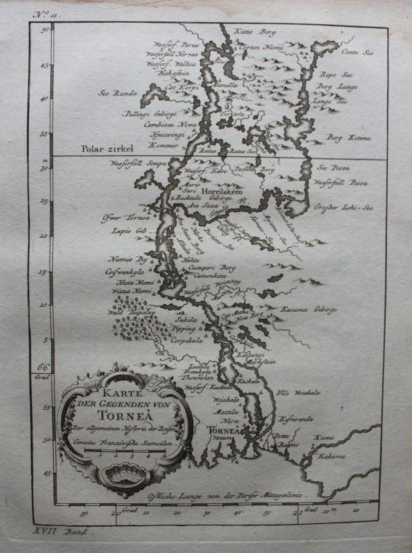 Kupferstichkarte der Gegend von Tornea 1758 Landkarte Finnland Geografie sf