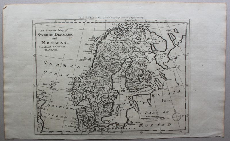 Kupferstichkarte Map of Sweden, Denmark and Norway um 1780 Landkarte sf