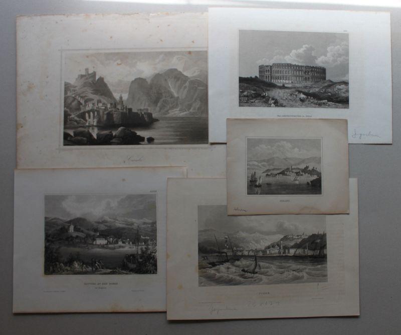 Konvolut 5 Stahlstiche Kroatien/ Ungarn um 1850 Landschaft Battina Pirano sf