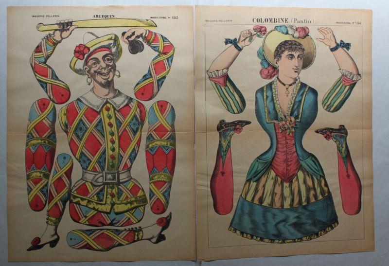 Pellerin/Schreiber Lithografien 6 Ausschneidebögen für Zielfiguren um 1910 sf 0