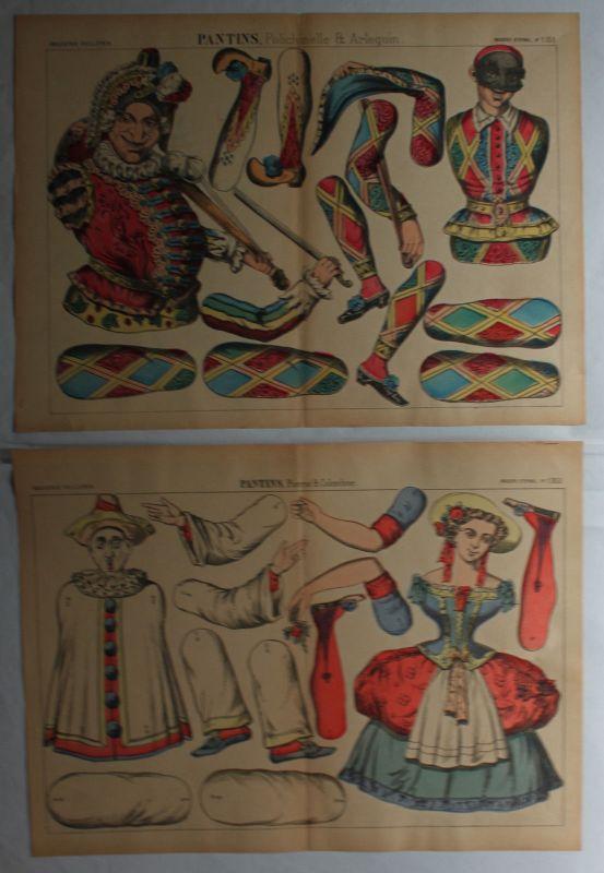 Pellerin/Schreiber Lithografien 6 Ausschneidebögen für Zielfiguren um 1910 sf 1