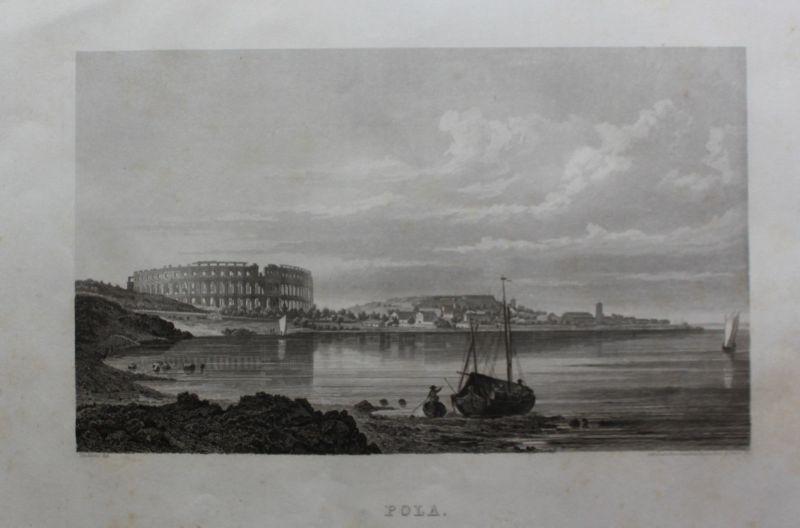 Konvolut Stahlstiche Ansicht von Pola/Pula um 1850 Landschaft Kroatien sf