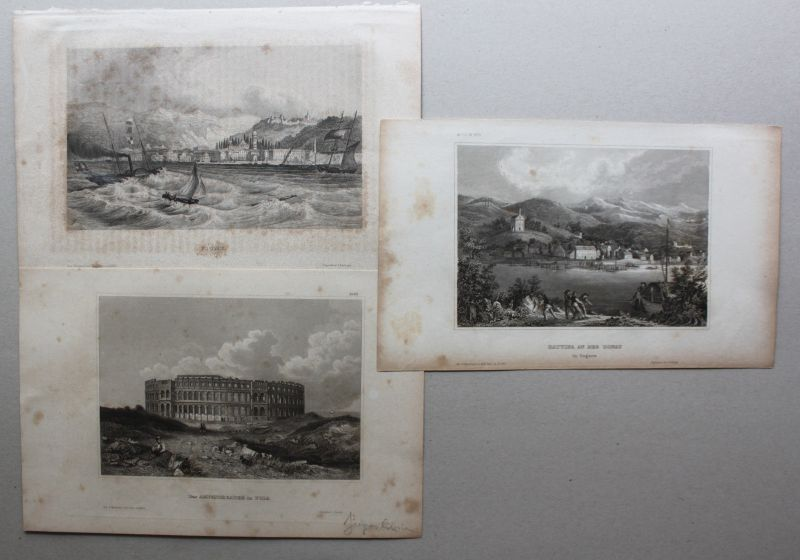 Konvolut Stahlstiche Ansicht von Pola/Pula um 1850 Landschaft Kroatien sf 1