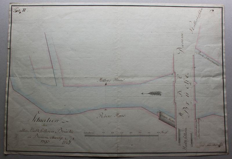 Aquarelltierte Tuschezeichnungen Huthfittern - Brücke in Braunschweig um 1793 sf 0