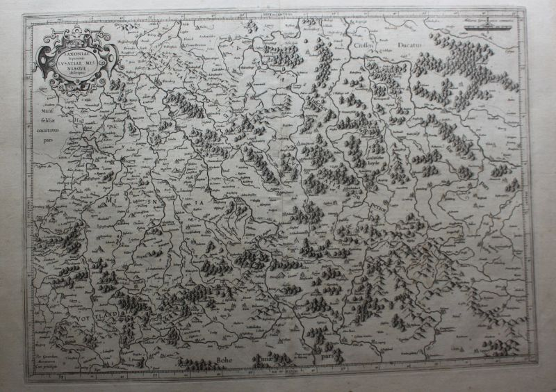 Kupferstichkarte Saxoniae superioris Lusatiae Misniaeque um 1600 Landkarte sf