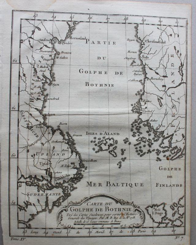 Kupferstichkarte von Du Golphe de Bothnie 1758 Landkarte Geografie sf