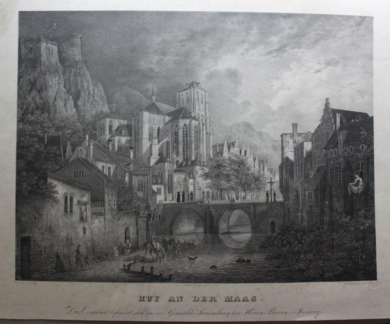 L. Brand Kreidelithographie große Ansicht von Huy an der Maas um 1840 sf 0