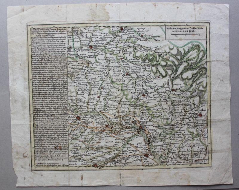 Kolorierte Kupferstichkarte von Deggendorfer Umgegend um 1750 Landkarte sf