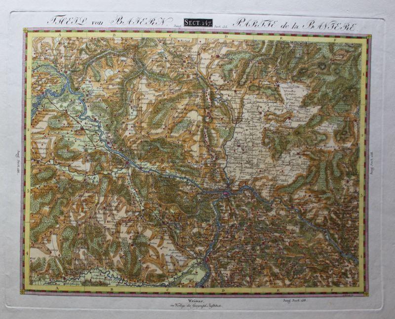 Altkolorierte Kupferstichkarte Theil von Bayern Section 147 um 1820 Landkarte sf