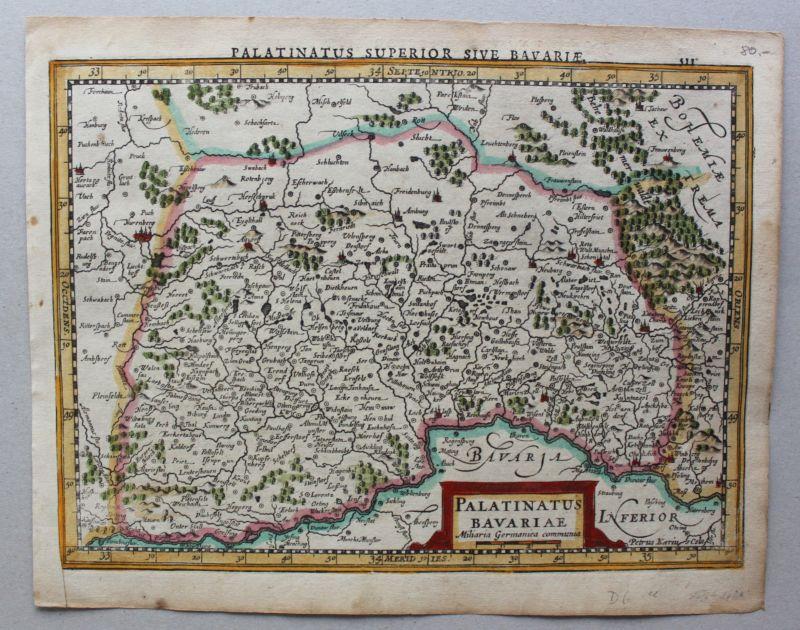 Kolorierte Kupferstichkarte Oberpfalz-Palatinatus Bavariae um 1630 Landkarte sf